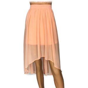 Forever 21 Peach Hi Lo Pin Dot Skirt Zip Back S